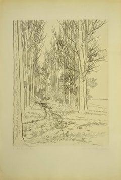 Landscape - Original Etching by A.R. Brudieux - 1960s