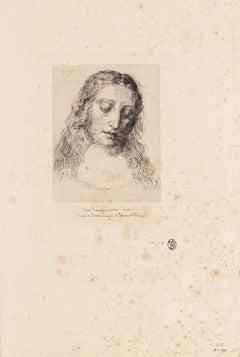 Portrait of Leonardo Da Vinci - Original Etching by Jules Ferdinand Jacquemart