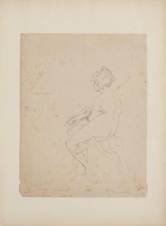 Figure - Original Pencil Drawing by Claudio Francesco Beaumont - 18th Century