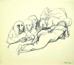 The Voyeurs - Original Black Marker Drawing on Paper - 1970s