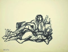 Figure - Original Permanent Marker Drawing - Mid-20th Century