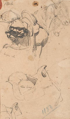 Study for Horses - Original Pen Drawing on Paper by Charles Coleman - 1850