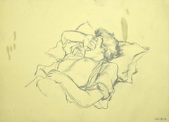 Sleeping Figure - Original Pencil Drawing - 1970s