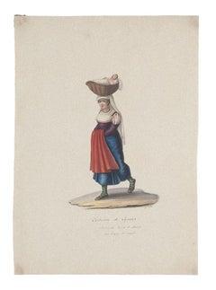 Costume of Cajazzo - Original Gouache by Michela De Vito - 19th Century