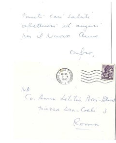 Autograph Happy New Year Card Signed by Afro Basaldella - 1963