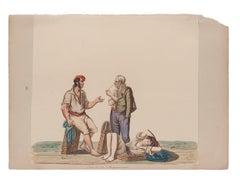Porters - Original Gouache by Michela De Vito - 19th Century