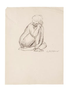 Nude - Original Pen on Paper by R. Cazanove - Mid-20th Century