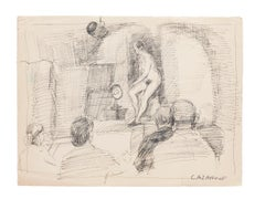 Nude - Original Pen on Paper by R. Cazanove - 20th Century