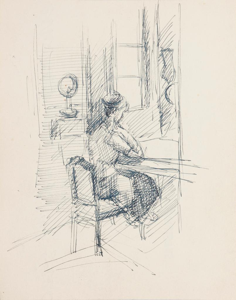 Reader - Original Pen on Paper by R. Cazanove - Mid-20th Century