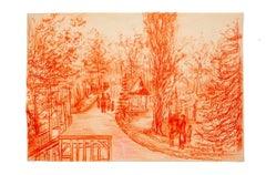 Barbizon - Original Pencil Drawing by Gustave Bourgogne - 1933