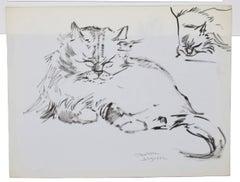 The Cats - Original Pen on Paper by Marie Paulette Lagosse - 1970s