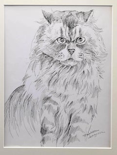 The Cat - Original Pen on Paper by Marie Paulette Lagosse - 1970s