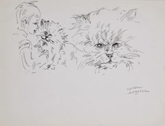 The Cat and Child - Original Pen on Paper by M. P. Lagosse - 1970s