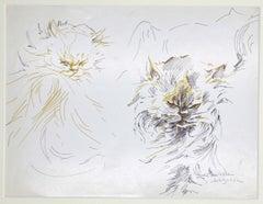 The Cats - Original Pen on Paper by M. P. Lagosse - 1970s