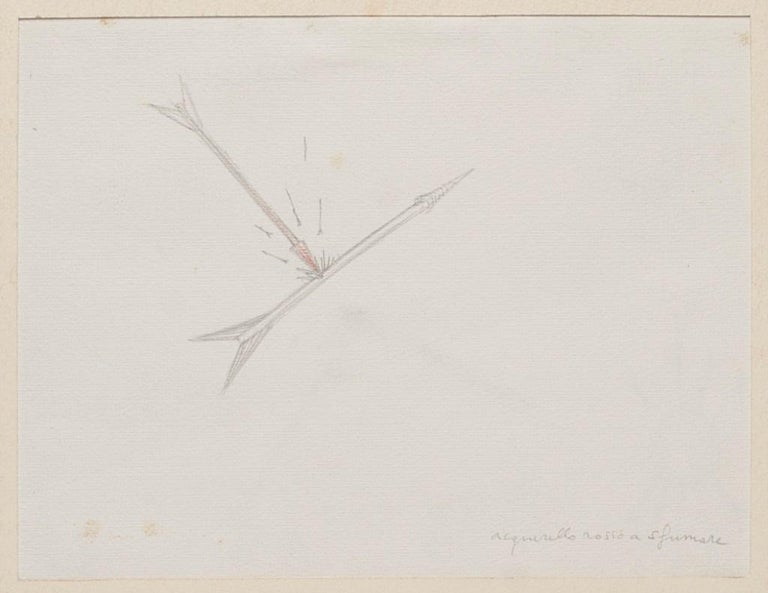 """Red Watercolor is an original contemporary artwork realized in the 1970s by the Italian artist Bruno Conte (Rome, 1939).  Original Pencil drawing and watercolor.  Titled on the lower right corner in pencil """"acquerello rosso a sfumare"""".  Passepartout"""