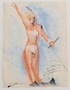 Bather - Original Drawing - Mid-20th Century