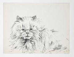 The Cat - Original Pen on Paper by M. P. Lagosse - 1970s