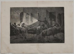 The Dormitory - Original Lithograph by C. Laplante - Early 20th Century