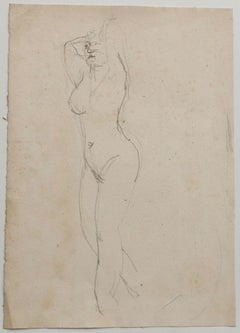 Nude - Original Drawing in Pencil by Jeanne Daour - 1939