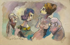 The Couples - Original Drawing by Mino Maccari - 1960