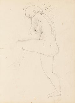 Nude - Original Drawing in Pencil by Jeanne Daour - Mid-20th Century