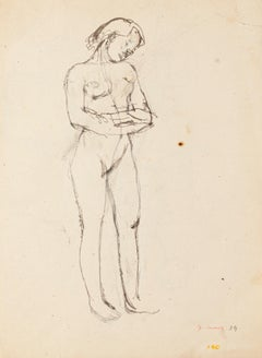 PREZZO_Nude - Original Drawing in Pencil by Jeanne Daour - mid-20th Century