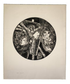 Painter - Original Etching on Paper by Gian Paolo Berto  - 1974