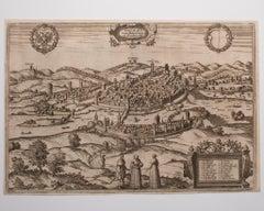 Schwäbisch Hall - Original Etching by G. Braun e F. Hogenberg- Late 16th Century