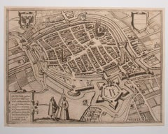 Map of Groningen - Original Etching by George Braun - Late 16th Century