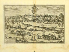 Map of Grodno - Original Etching by George Braun - Late 16th Century