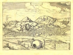 View of Antequera - Etching by G. Braun and Franz Hogenberg - Late 16th Century