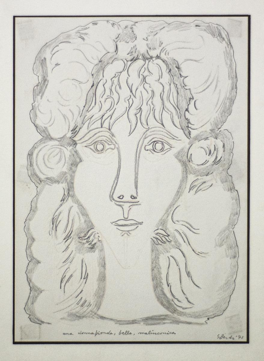 Portrait of Berenice - Original Pencil on Paper by Gian Paolo Berto  - 1971