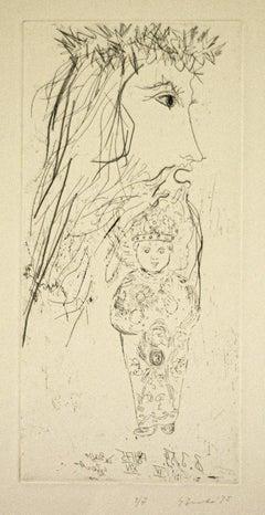 King David - Original Etching on Paper by Gian Paolo Berto  - 1975