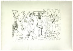 The Crucifixion - Original Pencil on Paper by Gian Paolo Berto  - 1975