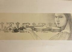 The Violin - Original Lithograph by Paolo Giorgi - 1986