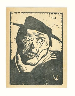 Drunk - Original Woodcut by Lorenzo Viani - 1930