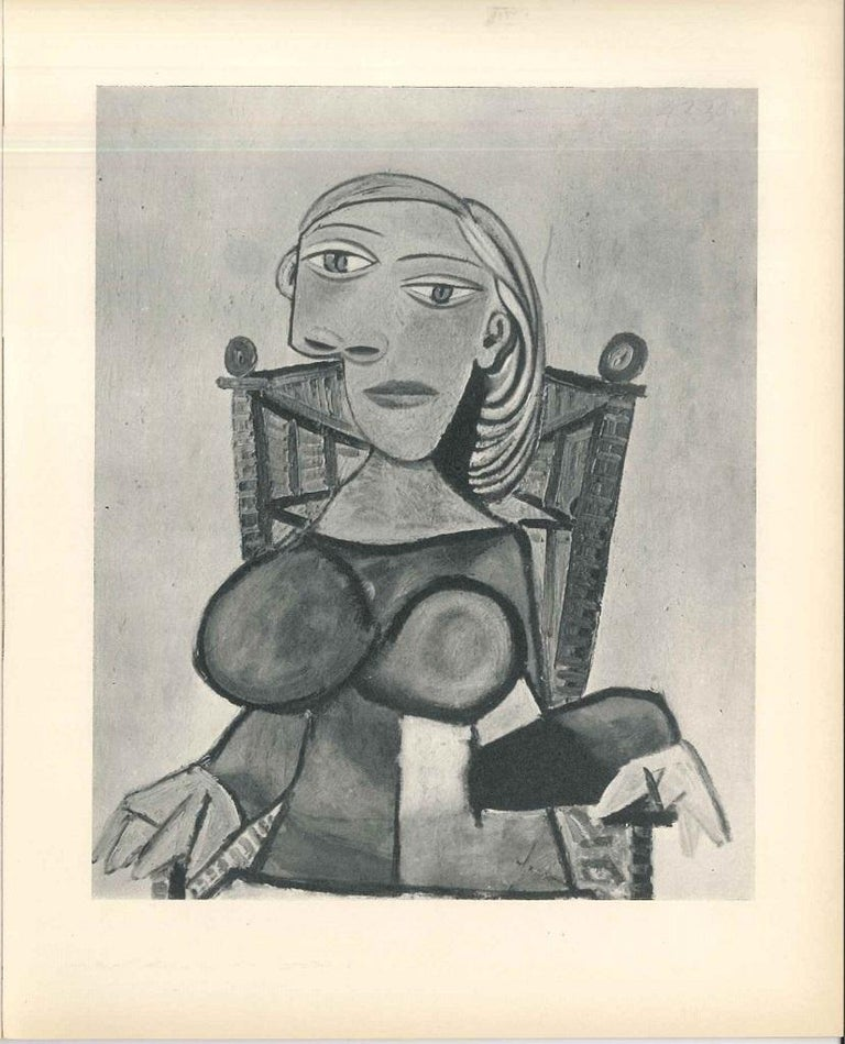 Rare catalog of Pablo Picasso's exhibition held at Sala Gaspar Gallery (Barcelona), November-December 1960. With 30 unpublished paintings of the great artist reproduced in full-page.  Lithographic cover realized by Pablo Picasso himself.   Text by