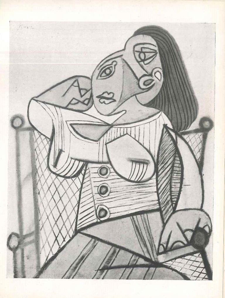 Catalog of Picasso's exhibition held on the 14th June, 1946 at the Louis Carré Gallery (Paris). Including 19 b/w full-page plates.  In-16º, text in French, 19 plates, cm 16.4 x 0.5 x 12.5, 1946.   Cardboard cover. Visible signs of aging, a usual