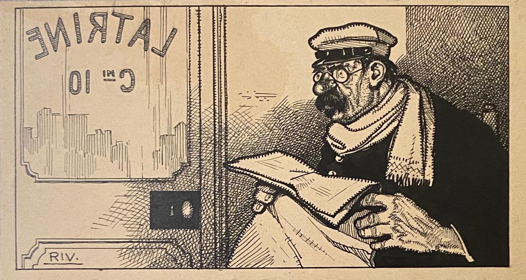 Passenger Train - China Ink by Carlo Rivalta - Early 20th Century