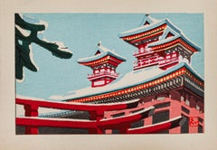 Snow-Capped Japanese Houses - Original Watercolor - Mid-20th Century