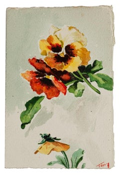 Flowers - Original Watercolor - mid-20th Century
