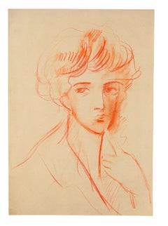 Female Portrait - Original Pastel by Gustave Bourgogne - Mid-20th Century