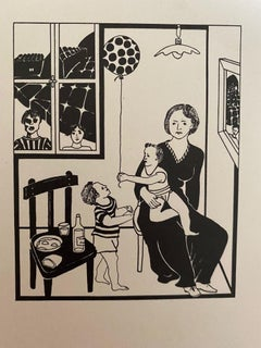 Family Scene - Original China ink by Antonio Presti - Late 20th Century