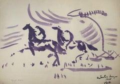 Horses and Jockeys - Original Watercolor by Antonio Vangelli - 1948