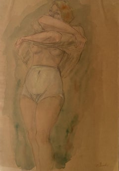 Nude Figure - Original Watercolor and Pencil by Odilon Roche - 1940