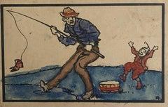 The Fisherman - Original Watercolor Drawing - 1920s