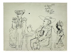Homage to Picasso - Original Ink Drawing by Gianpaolo Berto - 1974