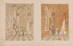 The Corridor - Original Lithograph on Paper by E. Laport - 1860