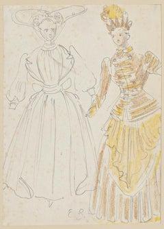 Costume - Original Pencil and Watercolor by Eugène Berman - 1960s