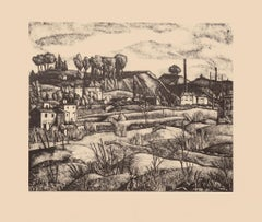 Landscape - Original Lithograph on Paper by Diego Pettinelli - 1936